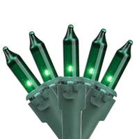 "Set of 35 Green Mini Christmas Lights 2.5"" Spacing - Green Wire"