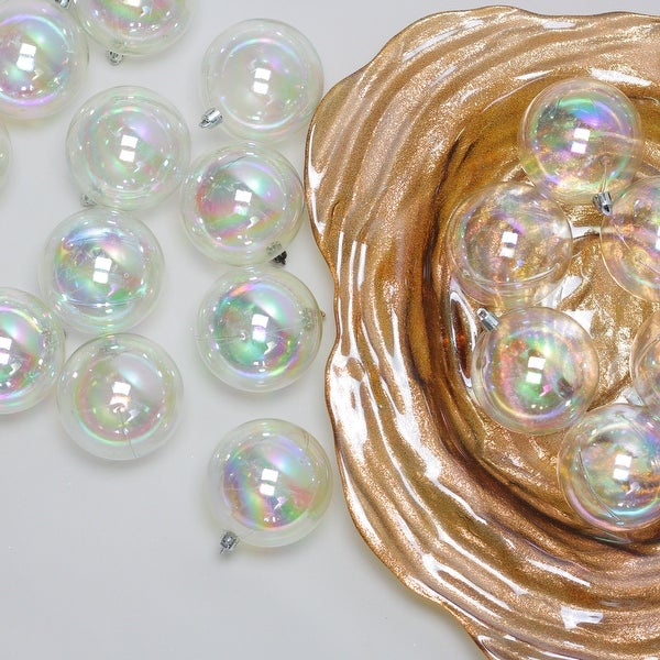 """32ct Clear Iridescent Shatterproof Shiny Christmas Ball Ornaments 3.25"""" (80mm)"""