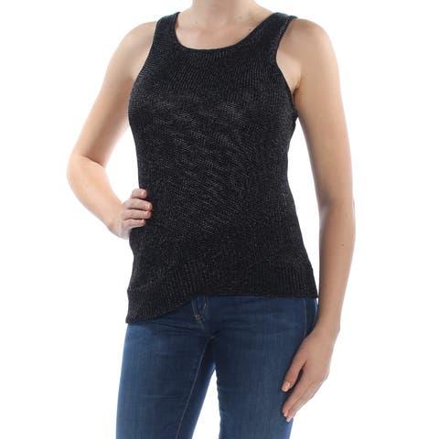 BAR III Womens Black Metallic Knit Tank Sleeveless Scoop Neck Sweater Size: XL