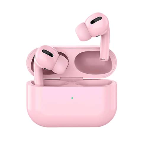 TWS Pink Sport Buds w/ Silicone Ear Tips, Magnetic Charging Case, Pop Up Pairing