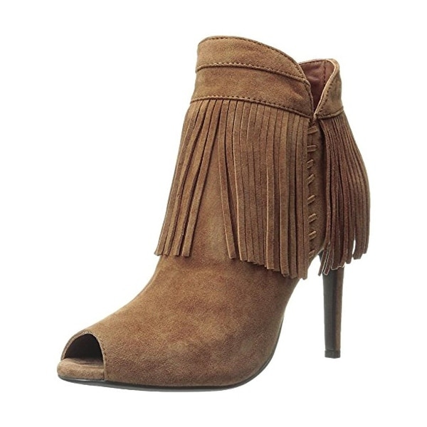Lola Cruz Womens Booties Fringe Peep-Toe