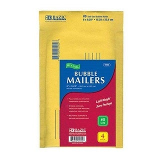 Bazic 6 X 9.25 (#0) Self-Seal Bubble Mailers (4/Pack)