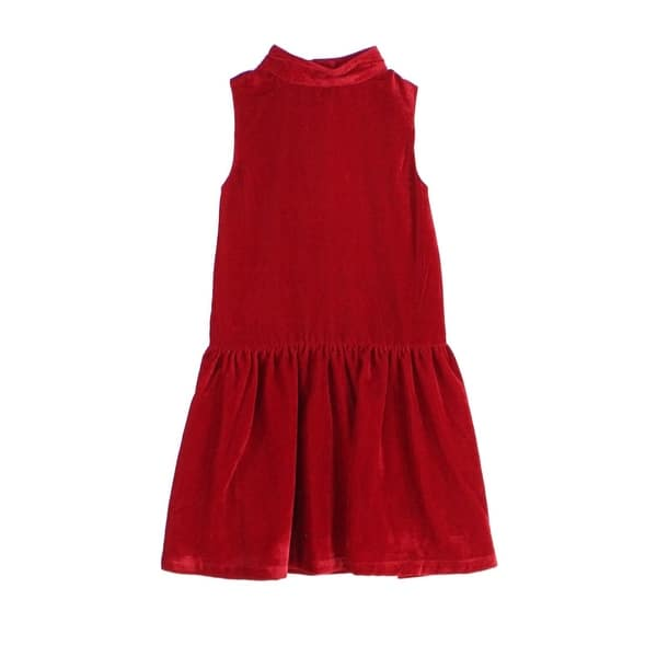 36aefe59a043b Ruby & Bloom Girl's Mock-Neck Velvet Flounce Dress
