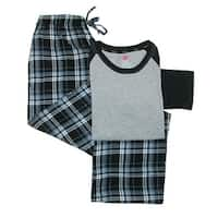 Hanes Men's Cotton Long Sleeve Shirt and Flannel Pajama Pants
