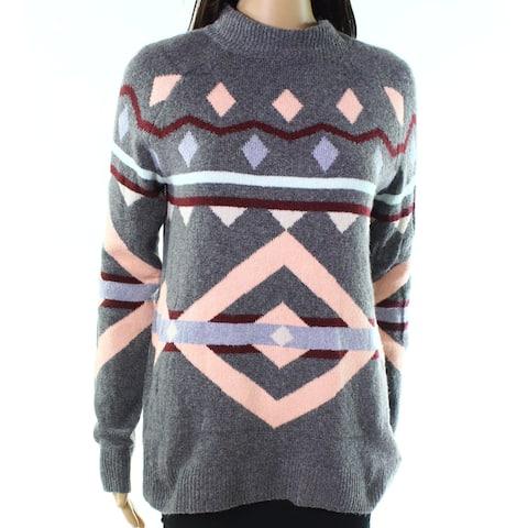 Pink Rose Medium Junior Geo-Print Turtleneck Mock Sweater