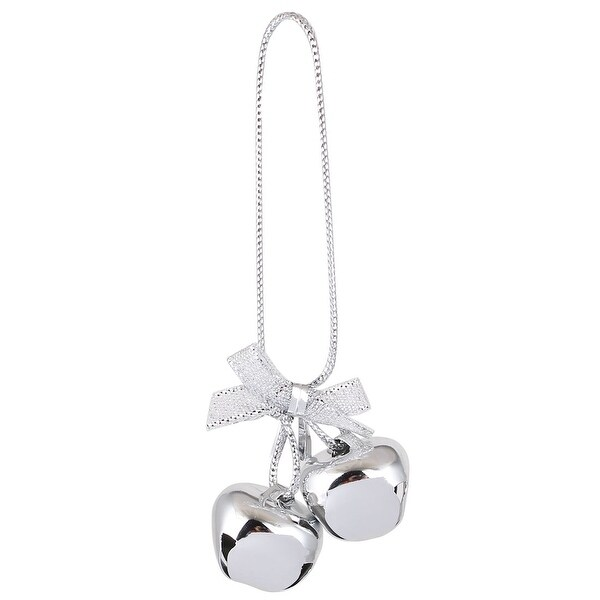 Festival Christmas Tree Metal Bowknot Ring Bell Pendant Hanger Decor Silver Tone