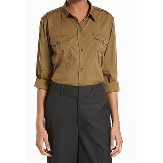 Vince. Olive Green Womens Size 0 Dual Pocket Button Down Top