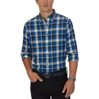 Nautica Mens Button-Down Shirt Long Sleeve Plaid