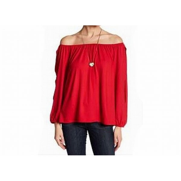 e3ca92fc85f Shop Pleione Red Women s Size Large L Off-Shoulder Split-Sleeve Knit Top -  Free Shipping On Orders Over  45 - Overstock - 22089379