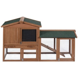Costway Wooden Large Rabbit Hutch Chicken Coop Bunny Animal Hen Cage House