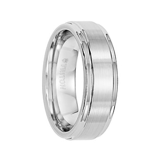 ELIJAH Raised Brushed Center White Tungsten Comfort Fit Ring with Polished Step Edges by Triton Rings - 7 mm