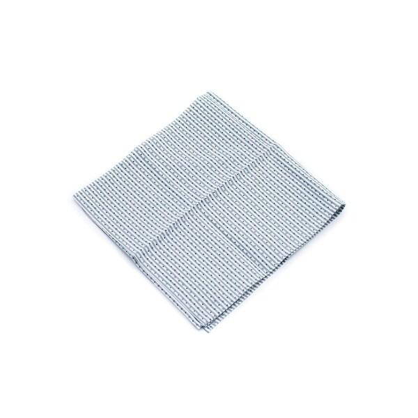 Brunello Cucine Green Pure Cotton Stamped Pin Striped Pocket Square