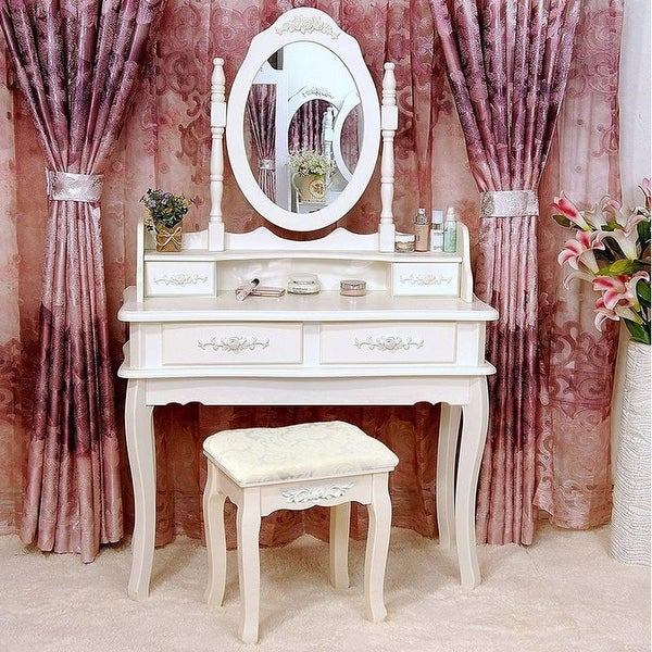 Rotation White Mirror Dressing Vanity Table Makeup Desk with Stool. Opens flyout.