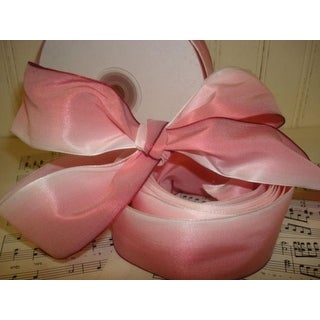 """Pack of 2 Taffeta Coral Pink and Ivory Wired Ombre Ribbon .875"""" x 54 Yrds"""