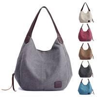Multi-pocket Cotton Canvas Handbags Shoulder Bags Totes