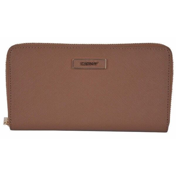 "DKNY Donna Karan Walnut Brown Saffiano Leather Zip Around Wallet Clutch - 7.5"" x 4"""