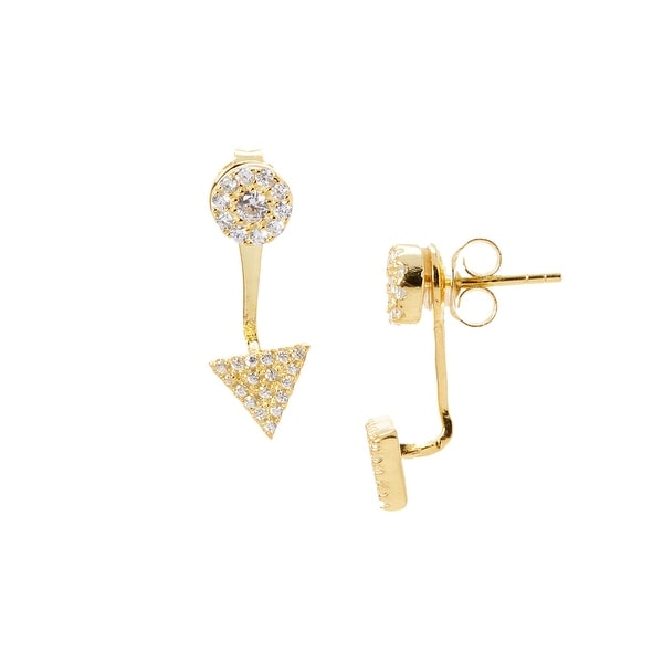 925 Sterling Silver Gold Platedtriangle Ear Jacket With Cubic Zirconia