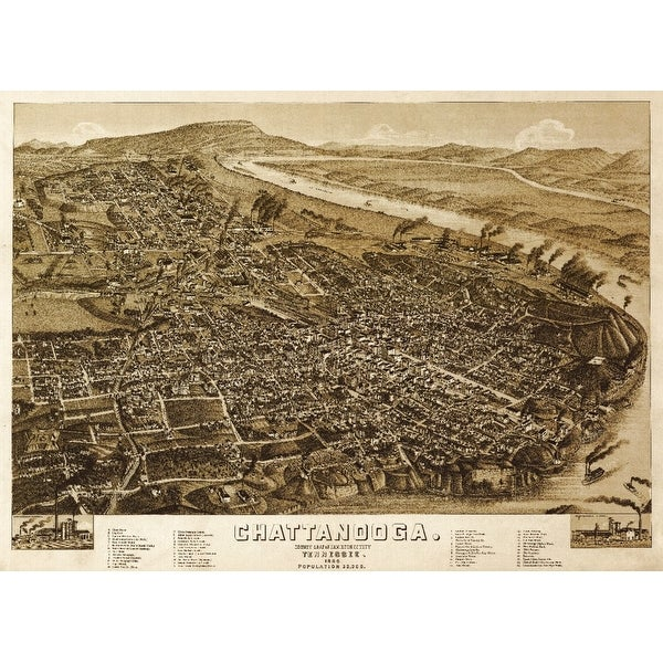 Chattanooga, Tennesseee - (1886) - Panoramic Map (Keepsake Tin)