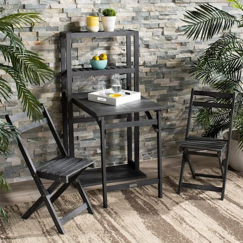 "Safavieh Outdoor Living Griffen Balcony Dining Cabinet Set - Ash Grey - Chair: 14.9"" x 23.3"" x 31.9"""