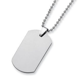 Chisel Tungsten Carbide Dogtag (1.75in) on 22 Inch Steel Bead Chain (2 mm) - 22 in