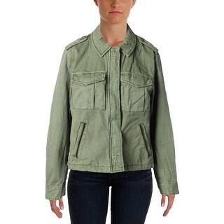Sanctuary Womens Habitat Twill Chest Pockets Military Jacket - L