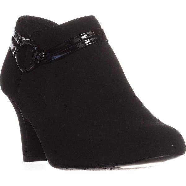 Easy Street Jem Ankle Booties, Black Lam/Patent