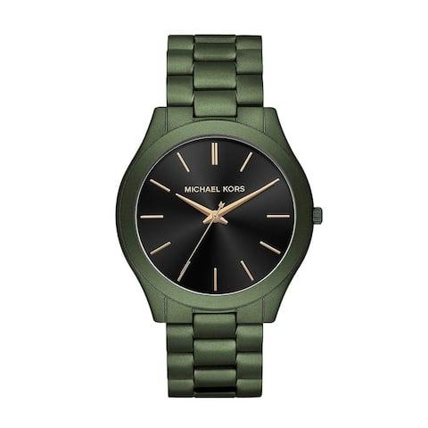 Michael Kors Slim Runway Olive Green Stainless Steel Black Dial Watch - Olive Green