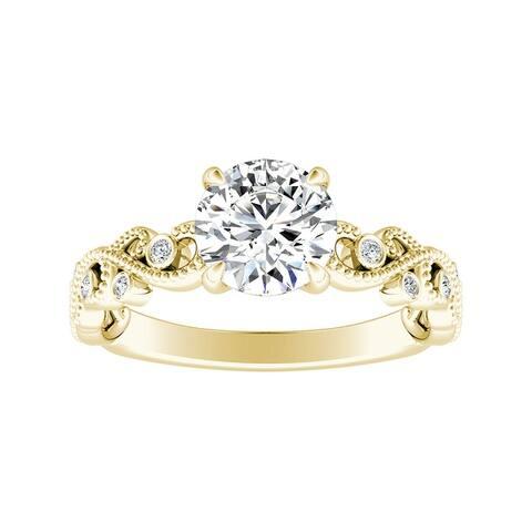 Auriya 14k Gold 3/4ct TW Vintage Moissanite and Diamond Engagement Ring 1/10cttw