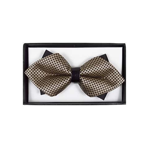 be77705b5607 Men's Brown & Gold Geometric Diamond Tip Bow Tie - DBB3030-24 - Regular