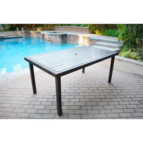65 94 Rectangular Espresso Brown Resin Wicker Outdoor Patio Garden Dining Table