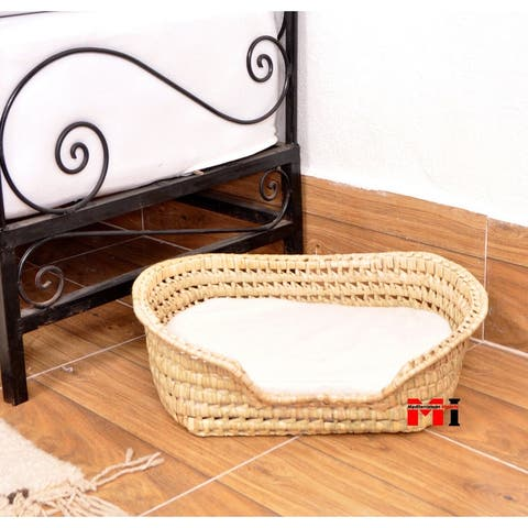 Chloe & Zain Contemporary Wicker Cat Dog Bed with Washable Cover