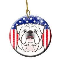 American Flag & White English Bulldog Ceramic Ornament