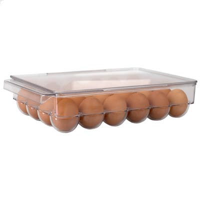 24 Compartment BPA Free Plastic Egg Holder with Lid, Clear