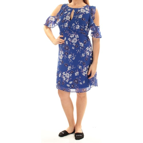 JESSICA SIMPSON Womens Blue Cold Shoulder Ruffled Floral Short Sleeve Keyhole Above The Knee Sheath Dress Size: 6