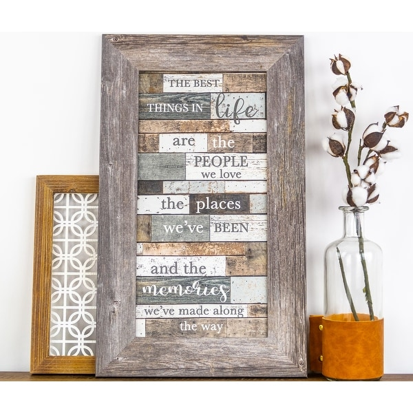The Best Things In Life Are The People We Love Places We've Been and Memories Vertical Framed Art. Opens flyout.