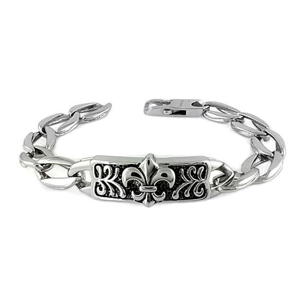 Stainless Steel Men's Fleur De Lis ID Bracelet - 8.5 inches