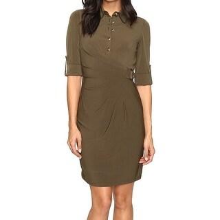 Tahari by ASL NEW Green Women's Size 4 Roll-Tab Seamed Shirt Dress