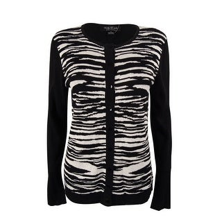 August Silk Women's Zebra Print Cardigan - l