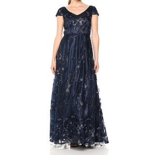Link to Alex Evenings Blue Womens Size 8 Sequined Metallic Embroidered Gown Similar Items in Dresses