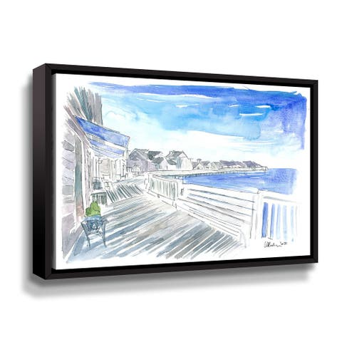 Outer Banks Currituck Sound Promenade Waterfront Gallery Wrapped Floater-framed Canvas