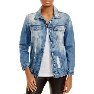Rails Womens Denim Jacket Distressed Long Sleeves