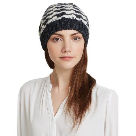 AQUA Ladies Charcoal & Ivory Knit Houndstooth Beanie Made In Italy $58