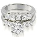 1.50 cttw. 14K White Gold Princess and Round Cut Diamond Engagement Bridal Set - Thumbnail 0