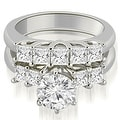2.00 cttw. 14K White Gold Princess and Round Cut Diamond Engagement Bridal Set - Thumbnail 0