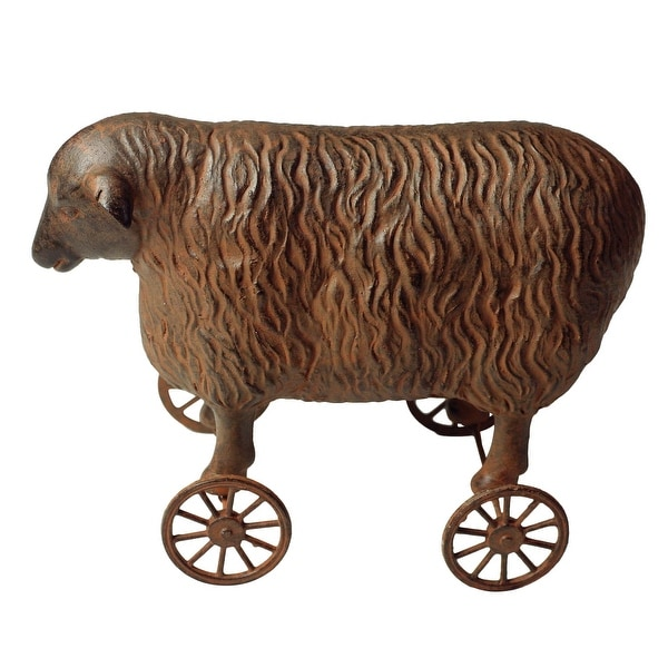 Victorian Trading Co. Primitive Sheep Pull Toy - Collectible Vintage Toy Reproduction Home Decor Accent Sculpture