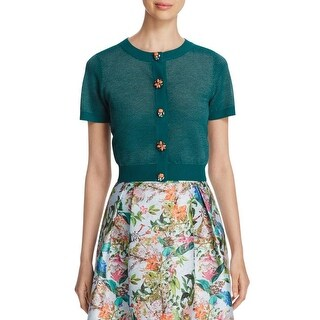 Finity Womens Cardigan Top Metallic Embellished