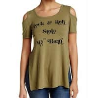 H.I.P. NEW Olive Green Womens Small S Rock & Roll Cold Shoulder Knit Top