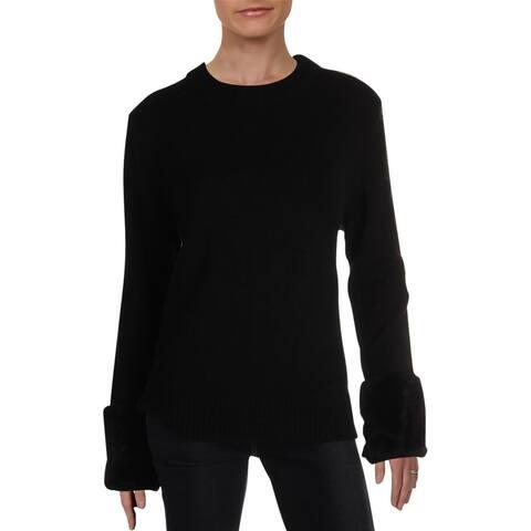 Cliche Womens Pullover Sweater Faux-Fur Mock-Neck - Black
