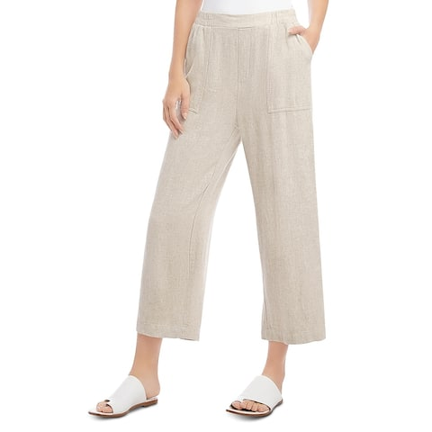 Karen Kane Womens Casual Pants Deep Pockets Cropped - Natural - L