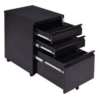 Costway Black 3 Drawers Rolling Mobile File Pedestal Storage Cabinet Steel Home Office